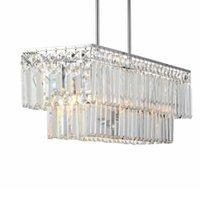 Chandeliers Luxury K9 Rectangular Crystal Chandelier LED Glow Pendant Lamp Bedroom Living Room E14 Luminaire Paragraph