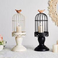 Bougies Titulaires Nordic Style Light Light Prestige Small Metal Bird Cage Candelabra Hollow Garden Bougeoir Accueil Décor EB50ZT