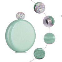 Draagbare Glitter Coating 5oz HIP-kolf Rvs Creatieve schattige slikflessen Wijnfles met Crystal Lids Funnel OWF9276