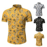 Chemises occasionnelles pour hommes Homme Chemise Homme Hawaiian Lâche imprimé Floral manches courtes Vintage Style Coton Hawaii Flower Hommes Plage Été Mode