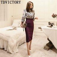 TDvictory 가을 ol 한국 스타일 여성 공식 두 조각 세트 인쇄 긴 소매 셔츠 블라우스 + 연필 바디 콘 스커트 210602