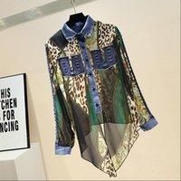 Fashion Blouse for Woman Summer New Denim Leopard Chiffon Shirt Womens Long Sleeve Blouse Blusas Mujer De Moda 2021