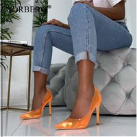 Dress Shoes Women Pumps 2021 Transparent Super High Heels Sexy Pointed Toe Slip-on Wedding Party For Lady Thin