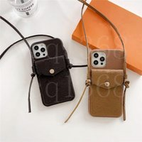أزياء مصمم جلد الغلاف الحالات آيفون 11 برو x ماكس 12 7 8 زائد XS XR الفاخرة الحبل الهاتف