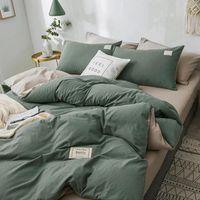 Bedding Sets Home Textile Solid Color Duvet Cover Pillow Case Bed Sheet AB Side Quilt Boy Kid Teen Girl Linens Set King Queen