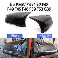 2 stücke Auto Styling Ausgezeichnete schwarze Spiegelabdeckungskappen Kohlefasermuster für BMW 2 Series Z4 x1 x2 F48 F49 F45 F46 F39 F53 G39