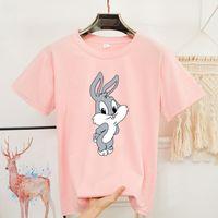 2020 летний принт мультфильм кролик милая рубашка женщины о-шеи с коротким рукавом 8 цветов белые черные рубашки Kawaii женщин негабаритная футболка