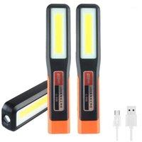 Lanterns portables 500lm COB LED, 3800mAh USB Lampe de travail rechargeable USB 270 ° Lampe d'inspection, 3 modes Tente de camping d'urgence rouge Lant1