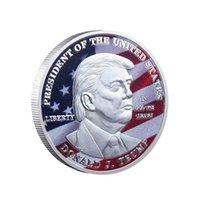 50pcs Artigianato Samerican 45 ° Presidente Donald Trump La statua della collezione di monete placcata in argento della libertà
