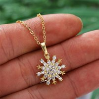 Pendant Necklaces Cute Snowflake Necklace Female White Crystal Wedding Vintage Rose Gold Silver Color Chain For Women
