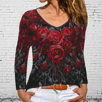 Women's Blouses & Shirts Summer Blouse Women Fashion Clothes Lady Casual Loose V-neck Tee Shirt Gradient Color Rose Printing Long Sleeve Top