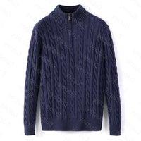 Men Sweaters Winter Fleece Thick Half Zipper High Neck Warm Pullover Quality Slim Knit Wool Designer Knitting Casual Jumpers Zip Cotton Sweatshirt Asian Size