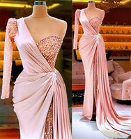 Sexy Pink Crystal Beaded Prom Dresses One Shoulder High Split Evening Dress Plus Size Arabic Aso Ebi Formal Party Second Reception Gowns