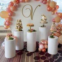 Autres Festives Fête Fournitures de Festive Fournitures rondes Pierre de piédestal Art Decor Cake Cake Porths Piliers pour Diy Decorations de mariage Vacances 2021
