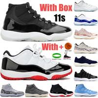 مع مربع جديد 11 11 ثانية أحذية رجالي كرة السلة 25th الذكرى منخفضة بيضاء بلين أسطورة الأزرق ovo رمادي الأفعى الجلد بانتون الرجال النساء أحذية رياضية