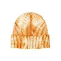 الخريف الشتاء الكبار الرجعية أساور قصيرة البطيخ قبعة التعادل صبغ طباعة skullcap متماسكة فضفاضة docker قبعة قبعة