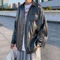 Camicie casual da uomo Camisas Para Hombre 2021 Autunno Silky Drape Camicia Gradiente colore Abbigliamento a maniche lunghe