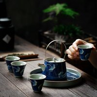 Cups & Saucers Blue And White Porcelain Teacup Ice Cracked Glaze Water Cup Ceramic Retro Handle Teapot Hand Painted Small Tea Bowl