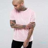 Streetwear Men Extended Rock T-shirt Velour Mens Hip Hop Longline Shirts Golden Side Velvet Curved Hem Tee S-2XL