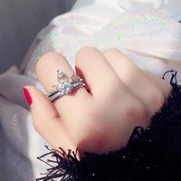 Wedding Rings 2021 Princess Zircon Pure White Crown Set Two Piece Women Girl Ring Proposal Designer Luxury Jewelry