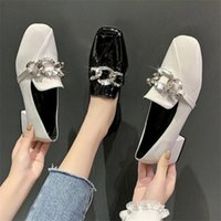 Dress Shoes 2021 Fashion Pumps Women Autumn Mary Janes Lady Office Rhinestone Chain Design Square Heels Black White Leather