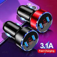Universal 3.1A Dual USB-Autoladegerät LED-Anzeigen-Display Fast Charging-Handy-Auto-Ladegerät für iPhone 11 12 Samsung S10 Xiaomi