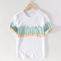 2021 Новый Удобный Короткий СПЛАЙН Бренд Бренд Рубашка Мода Повседневная Белые футболки Для Мужчины Круглая Стева Мужская Летняя Футболка Мужской W6PR