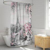 샤워 커튼 에펠 탑 파리 커튼 방수 천으로 직물 목욕탕 금형 방지 저항 방지 욕실 빨 수있는 목욕 커튼