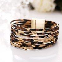 Tennis High Street Bracelets Bangles Elegant Multilayer Wide Wrap Charm Bracelet Jewelry 2021 Fashion Women Leopard Leather