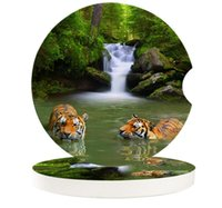 Table Runner Tiger In The River Small Round Ceramic Car Coasters Set For Drinks Coffee Tea Beverage Cup Holder