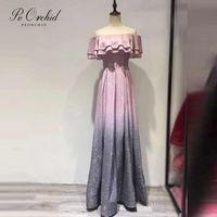 Abiti da festa Peorchid Gillter Pink Prom 2021 fuori dalla spalla Elegante Vestidos Cerimonia Longos abito da sera personalizzato