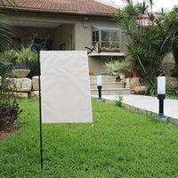 Drapeau de jardin de sublimation vierge 100% polyester blanc bannière blanche drapeaux double côtés impression de transfert de chaleur imprimé de jardin bannière 30 * 45cm haut