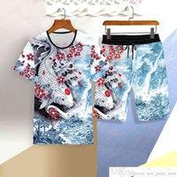 3d المطبوعة قصيرة الأكمام السراويل البدلة النمط الصيني قطعتين مجموعة الشباب منتصف العمر رجل رجل عارضة الرياضة السراويل تي شيرت