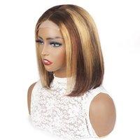 Ishow Brasileño Straight Highlight Bob 4x4 Cierre de encaje transparente Pelucas de cabello humano 4/27 Ombre Marrón Color natural Peluca delantera de encaje para mujeres Chicas 8-14 pulgadas Todas las edades