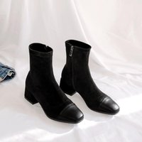 Boots Fashion Ankle Elastic Sock Chunky High Heels Stretch Women Autumn Sexy Booties Square Head Size 33-43