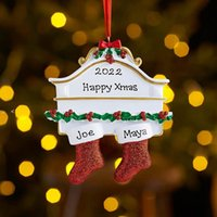 Resin Personalized Stocking Socks Family Of 2 3 4 5 6 7 8 Christmas Tree Ornament Creative Decorations Pendants OWE10061