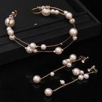 Hair Clips & Barrettes Fashion Pearl Flower Headband Earring Bridal Wedding Crown Accessories Band Tiara Crystal Headpiece Jewelry Gifts