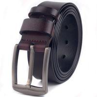 Belts Whole Cowhide Men Genuine Leather Belt Alloy Metal Pin Buckle Designer Waist Strap Male For Jeans Design
