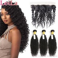 Human Hair Extension Weft Brazilian Deep Wave Curly 3 Bundles With 13X4 Lace Frontal WaterHair Weaves Hair Bundles With Frontal 4 Pieces lot