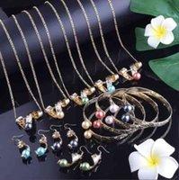Jeu de bijoux en or Hawaiian polynésien pour femmes 2020 Mer Turtle Frangipani Pendentif Colliers Ensembles Boucle d'oreille à branches tendance