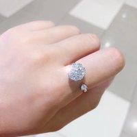 그물 빨간색 같은 회전 반지 925 퓨어 실버 마이크로 세트 지르콘 오픈 다이아몬드 반지 여성을위한