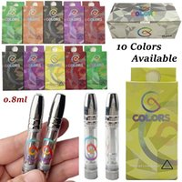 Colors Vape Cartridges Carts 0.8ml Atomizers 510 Thread Cartridge 10 Color Round Metal Tip Packaging Stickers Tube Green Tank Thick Oil Cart Empty Vapes Pen Vaporizer