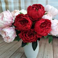 5 têtes / pics belle pivoine fleur maison décoration faite main artificielle pivoine bouquet fleurs 48cm pour mariage maison mariage mariage