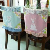 48 * 48см пасхальный стул охватывает ткань кролик розовый синий кухонный стул крышка счастливая пасхальная вечеринка домашнее украшение