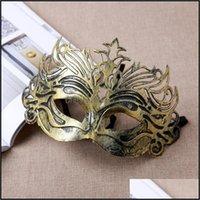 Festive Party Fournitures Accueil GardenVintage Masque Princesse Or / Sliver Demi-visage PVC Masques Venetian Halloween pour Cosplay Masquerade Show Dro