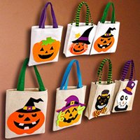 Halloween Canvas Fabric Reuseable Pumpkin Candy Bag Tote Bag Gift Bags Handheld Festival Decoration For Kids