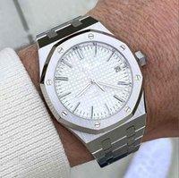 Специально разработанный для мужчин для создания часов белого облака циферблат из нержавеющей стали сплошной браслет автоматическое движение механический изысканный вид мужской наручные часы