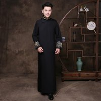 Black Groomsman Chinese Wedding Cheongsam Traditional Style Groom Man Evening Dress Long Gown Qipao Mens Size S - XL Ethnic Clothing