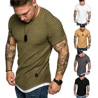 T -SHIRTS DE HOMBRES PLEATED arrugado Slim Fit O Cuello de manga corta Músculo Sólido Tops Casuales Camisas Verano Tamaño básico Tamaño M-3XL