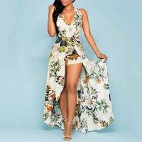 Kadın Yaz Moda V Yaka Asimetrik Elbiseler Kapalı Shouder Çiçek Tatil Tatil Pantolon Culottes Elbise